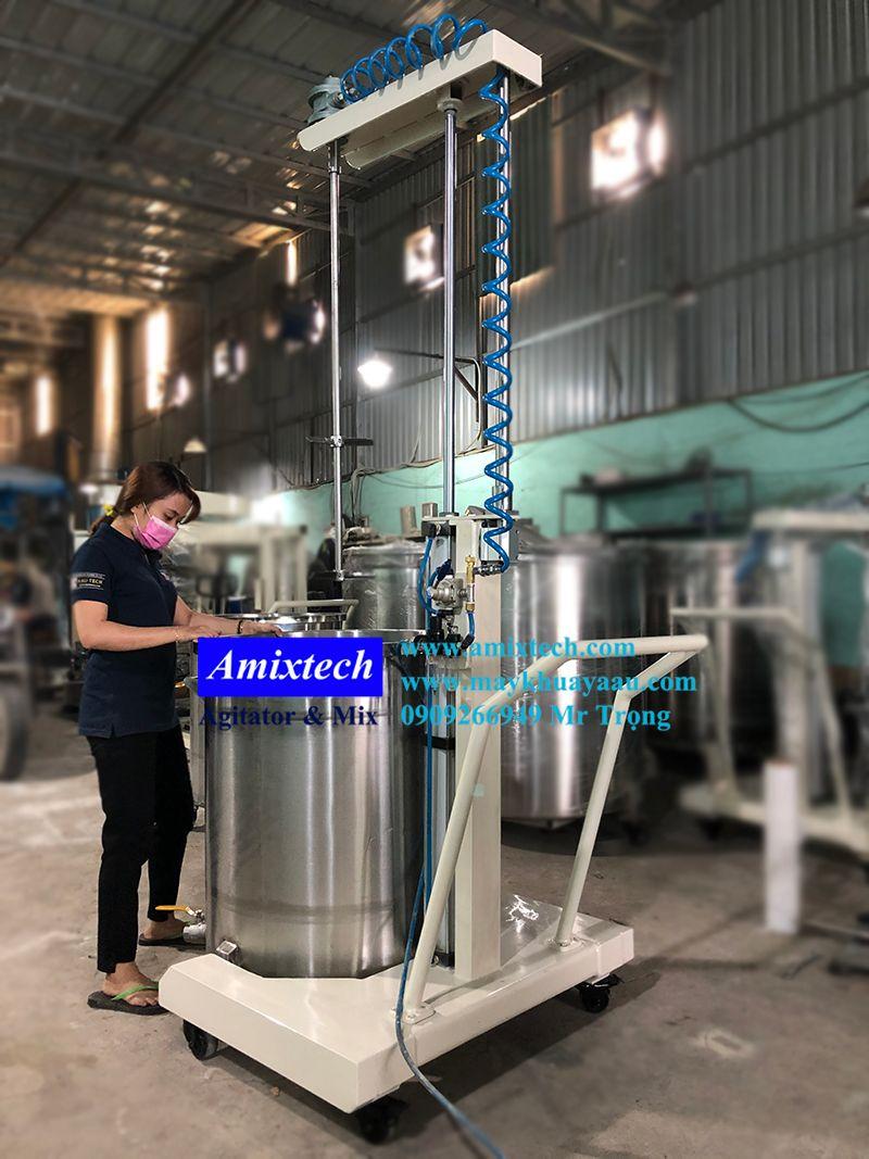 máy khuấy nâng hạ khí nén 200 lít
