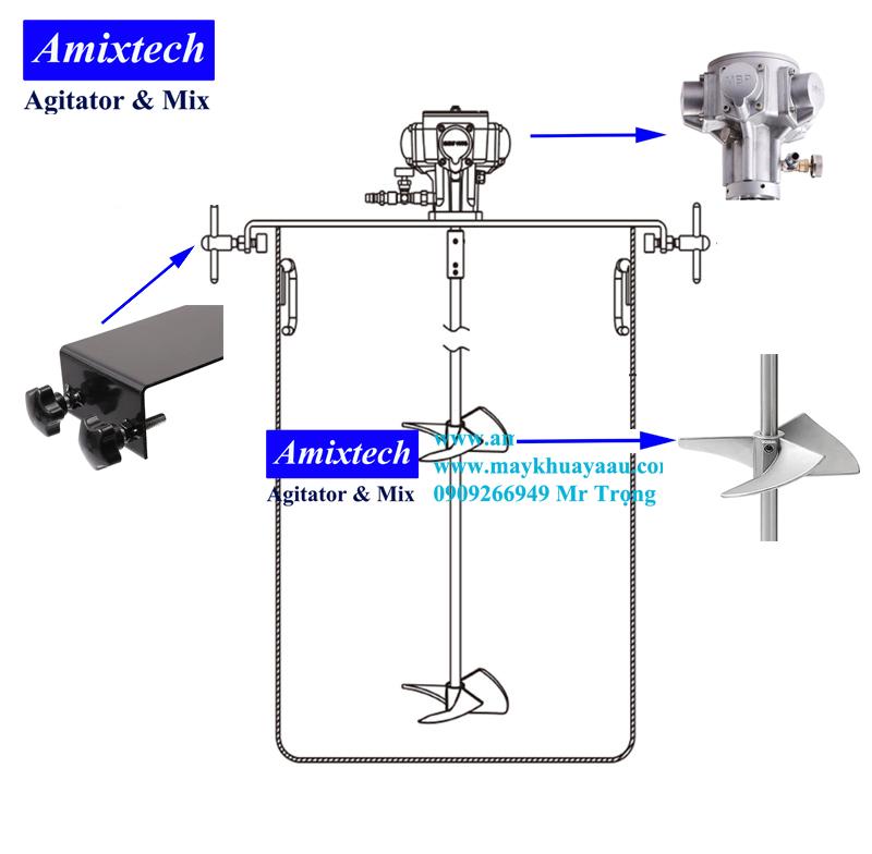 máy khuấy khí nén 200 lít Amix-K04