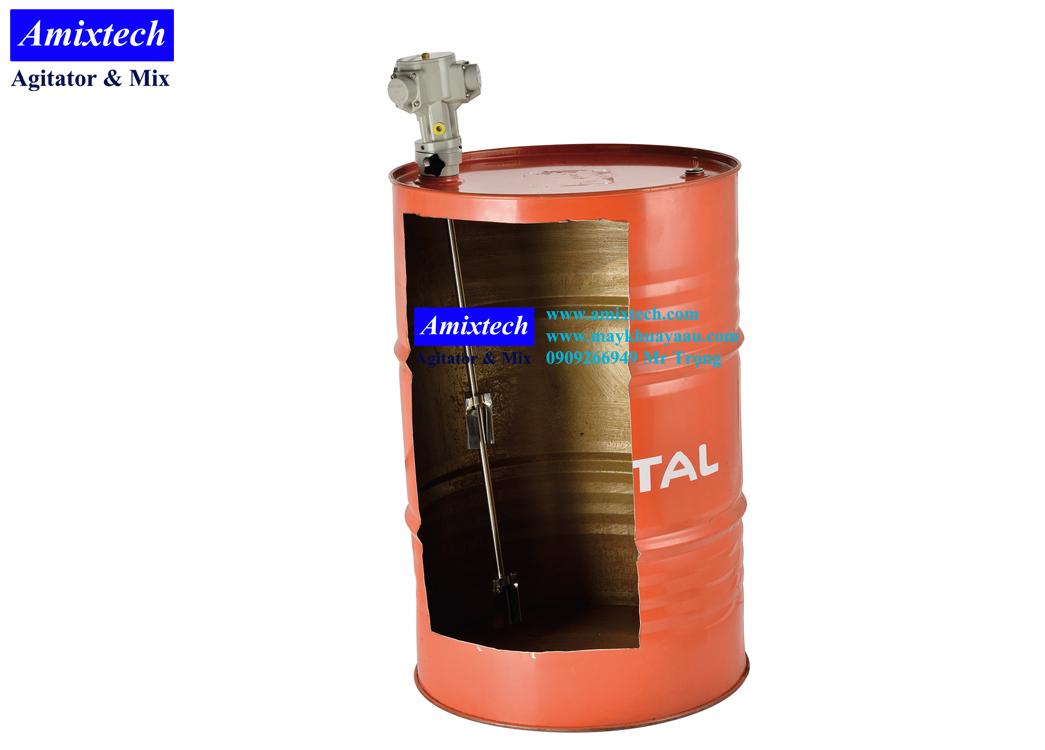 máy khuấy khí nén gắn nắp phuy 200 lít Amix-K06